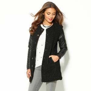 manteau bi matière femme