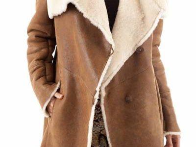 manteau cuir retourné femme