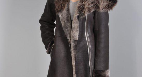 manteau en peau retournée femme
