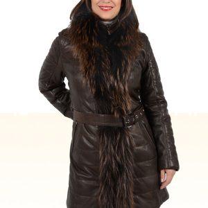 manteau femme cuir fourrure