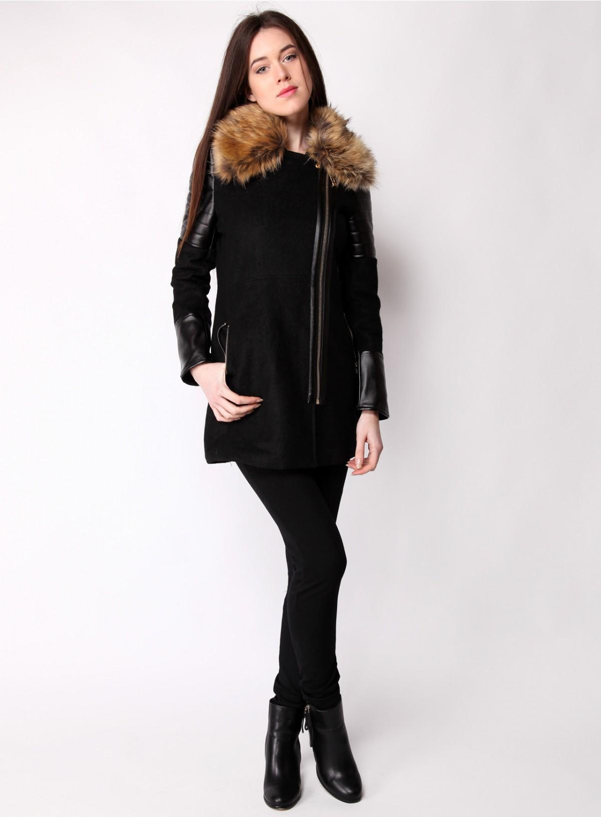 manteau femme fourrure col