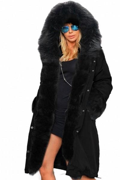 manteau femme noir capuche fourrure