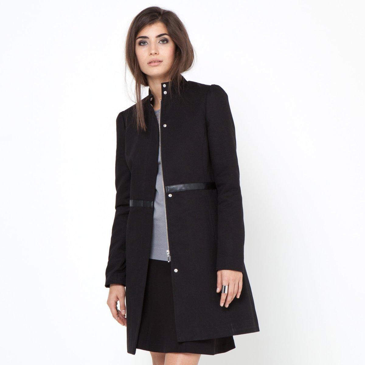 manteau femme noir cintr. Black Bedroom Furniture Sets. Home Design Ideas
