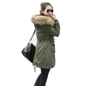 manteau kaki femme capuche fourrure