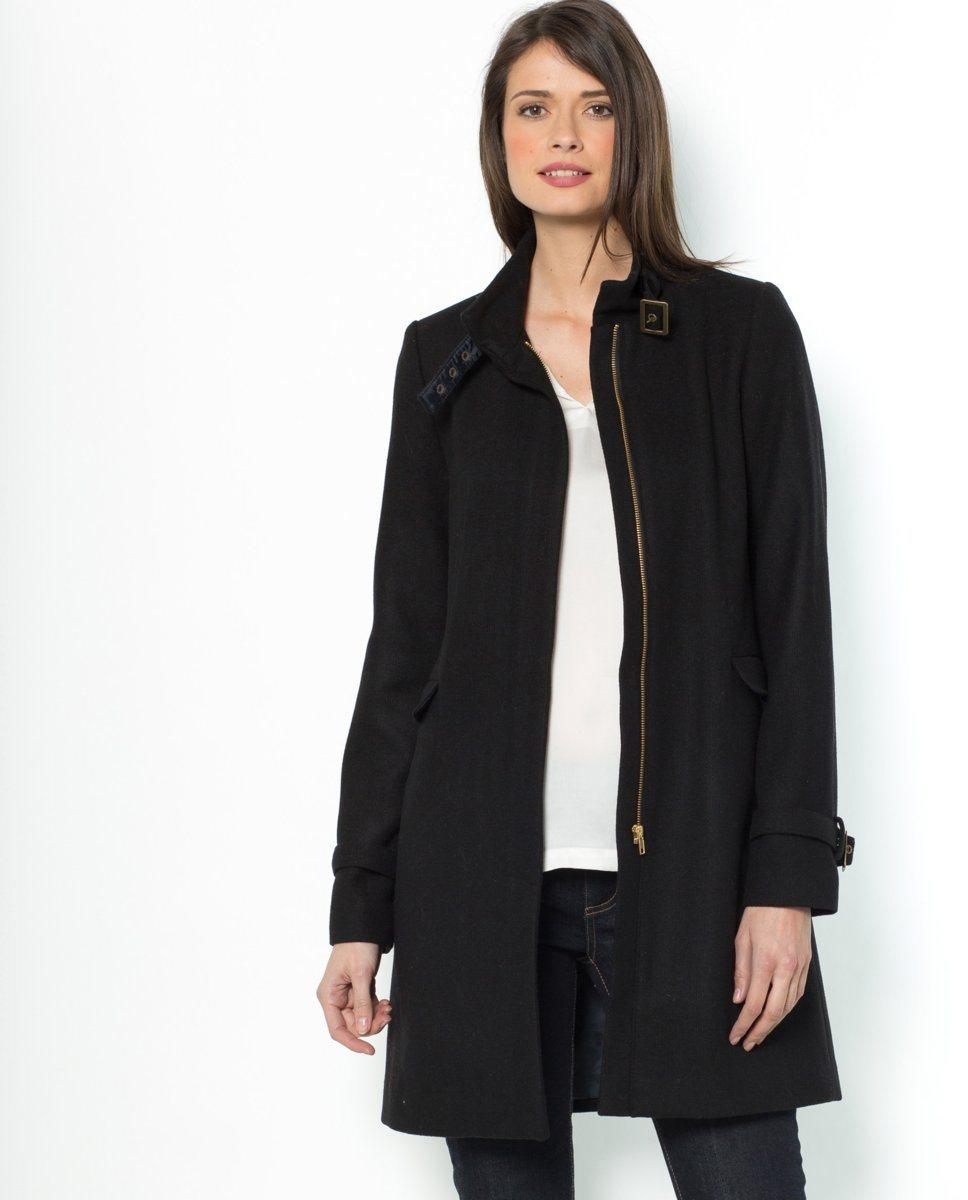 manteau laine noir femme. Black Bedroom Furniture Sets. Home Design Ideas
