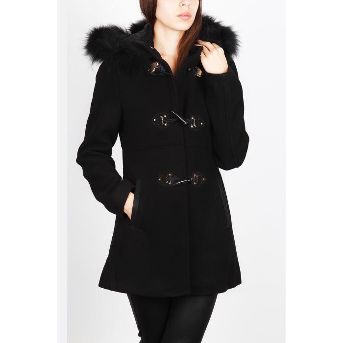 manteau noir capuche femme. Black Bedroom Furniture Sets. Home Design Ideas
