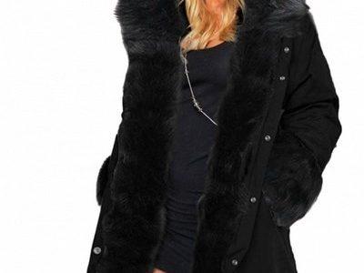 manteau noir capuche fourrure femme