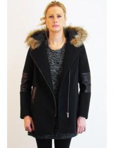 manteau noir court femme