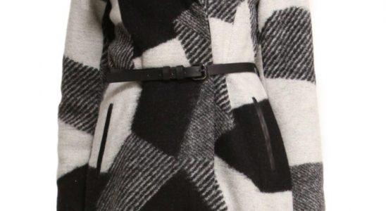 manteau noir et blanc femme