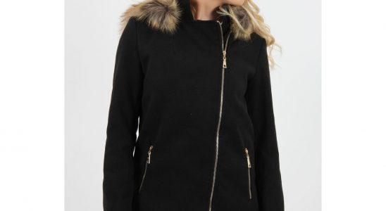 manteau noir femme capuche