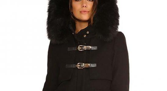 manteau noir femme capuche fourrure