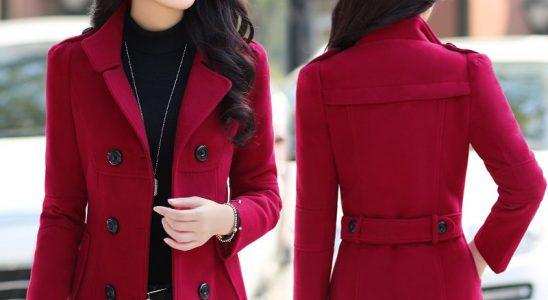 manteau rouge femme pas cher