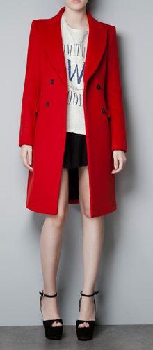 Manteau rouge femme zara