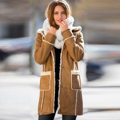 Manteau femme long suedine