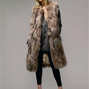 manteau vrai fourrure femme